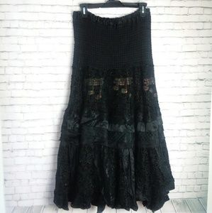 Dresses & Skirts - Long black tiered full skirt-  with music notes!